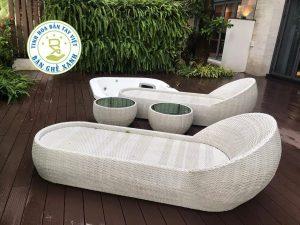 Ghế Nằm Bể Bơi Mây Nhựa BB05