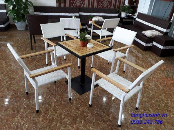 Bàn Ghế Cafe Mây Nhựa BGX613